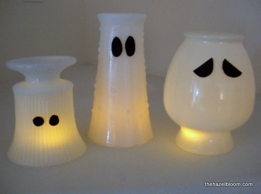 Ghostly milk glass vases