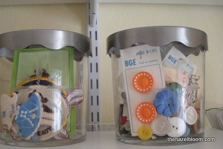 Ikea containers hold patches and buttons