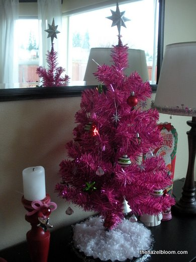Pink tree with tart pan base