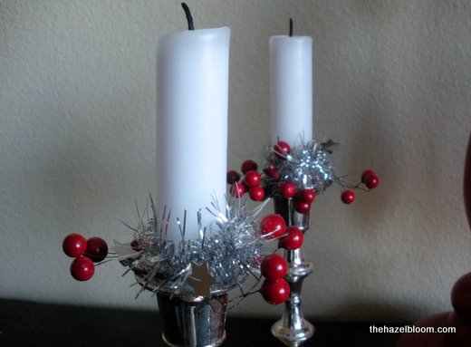 Berried silver candlesticks