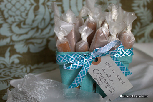Creamy caramels all packaged up to give away     because i need to be saved from myself