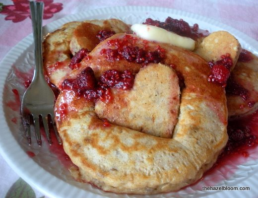 Hearty buttermilk pancakes with raspberry honey syrup